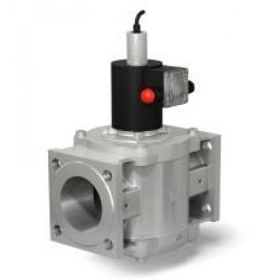 Клапан электромагнитный двухпозиционный фланцевый с ручным взводом электрического типа с датчиком положения