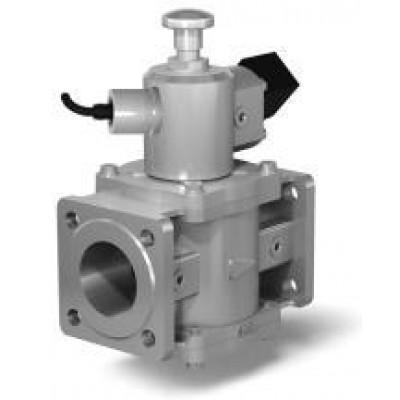Клапан электромагнитный двухпозиционный фланцевый с ручным взводом механического типа с датчиком положения